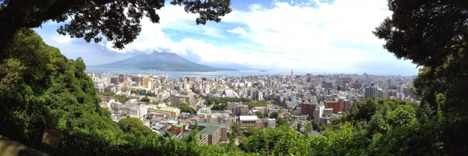 Overlooking the city of Kagoshima and Sakurajima volcano