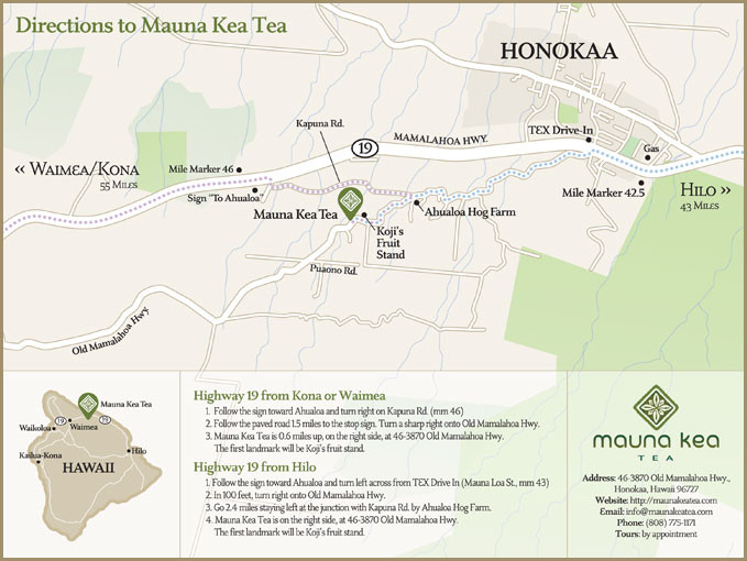 Map to Mauna Kea Tea