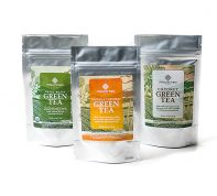 Ginger Turmeric green tea, Coconut green tea and Sweet roast green tea